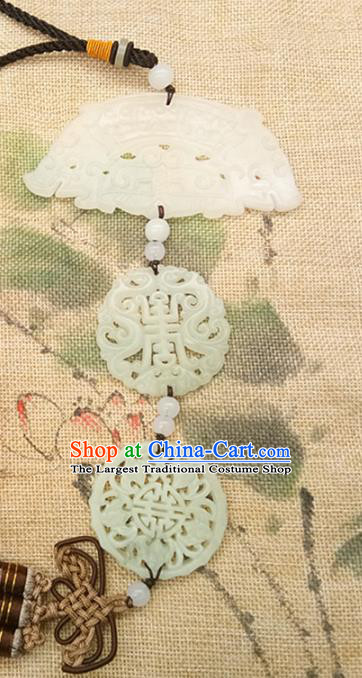 Chinese Handmade Semi Annular Jade Waist Accessories Handgrip Craft Handmade Jade Jewelry Jade Belt Pendant