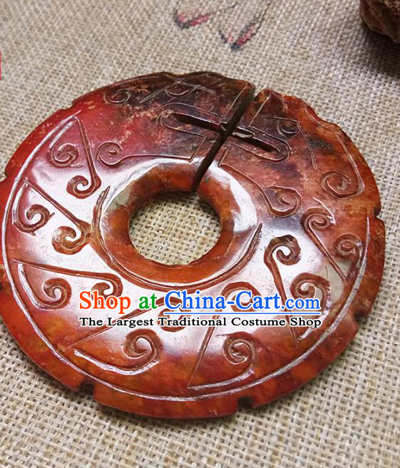 Chinese Handmade Jade Annular Waist Accessories Handgrip Craft Handmade Jade Jewelry Jade Carving Dragon Pendant