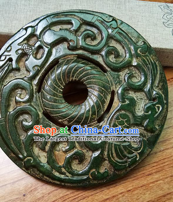 Chinese Handmade Green Jade Annular Accessories Handgrip Craft Handmade Jade Jewelry Jade Carving Waist Pendant