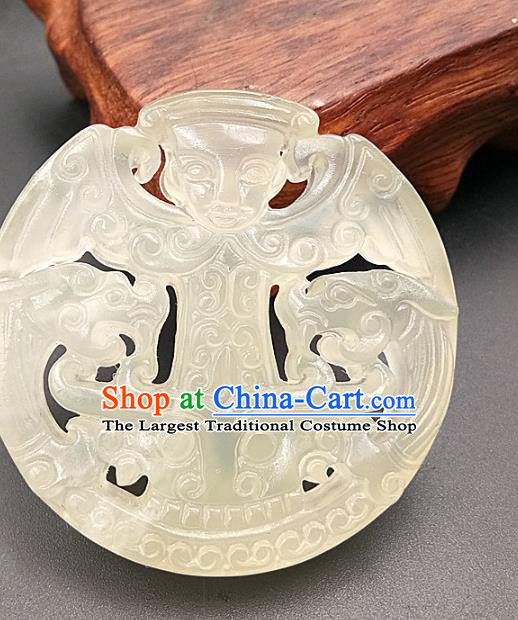 Chinese Handmade Jade Annular Accessories Handgrip Craft Handmade Jade Jewelry Jade Carving Child Waist Pendant