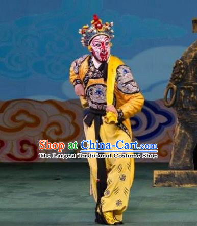 Chinese Peking Opera Martial Male Apparel A Monkey King Costumes Sun Wukong Garment and Headwear