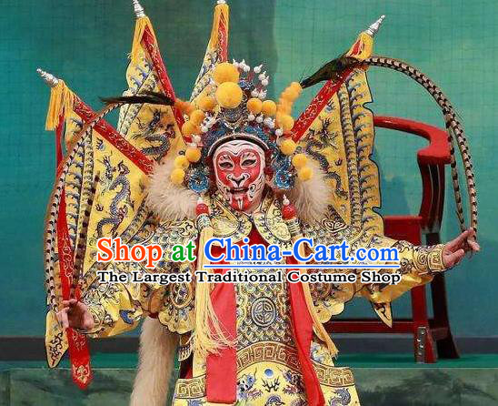 Chinese Peking Opera Martial Men Garment A Monkey King Costumes Sun Wukong Takefu Apparel Kao Armor Suit with Flags and Headwear