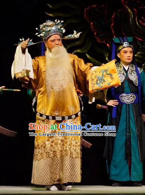 Chinese Peking Opera Embroidered Robe Garment Double Pearl Phoenix Old Men Apparel Costumes and Hat