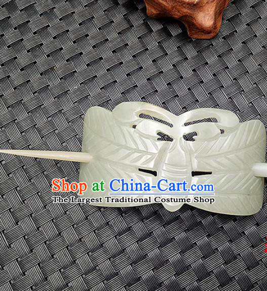 Chinese Ancient Jade Hairdo Crown Hair Clip Hanfu Hair Accessories Jade Hairpin Carving Butterfly Headwear