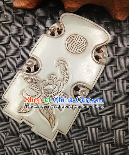 Chinese Handmade Jade Label Accessories Handgrip Craft Handmade Jade Jewelry Jade Carving Flower Necklace Pendant