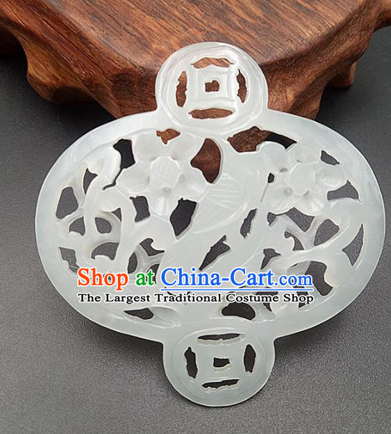 Chinese Handmade Jade Label Accessories Handgrip Craft Handmade Jade Jewelry Jade Carving Plum Waist Pendant