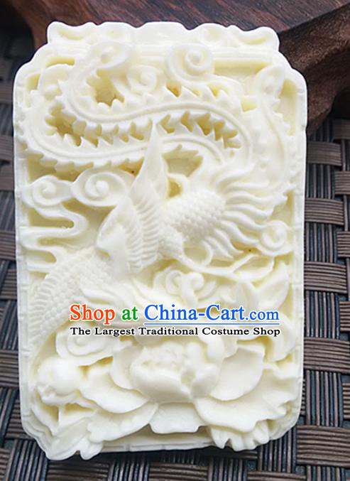 Chinese Handmade Jade Label Accessories Handgrip Craft Handmade Carving Phoenix Jade Waist Pendant