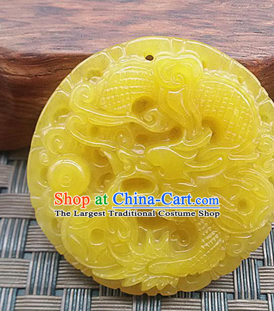 Chinese Handmade Carving Dragon Jade Label Accessories Handgrip Craft Handmade Topaz Jade Waist Pendant