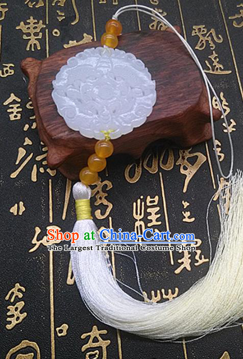 Chinese Handmade Carving Jade Label Belt Accessories Handgrip Craft Handmade White Tassel Waist Pendant