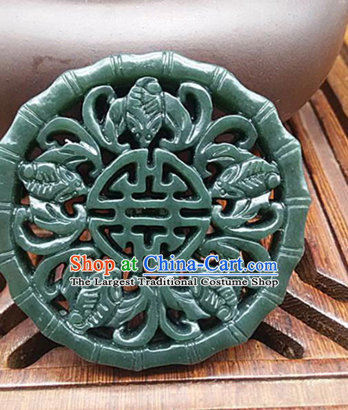 Chinese Handmade Carving Bats Jade Label Belt Accessories Handgrip Craft Handmade Jade Bamboo Waist Pendant