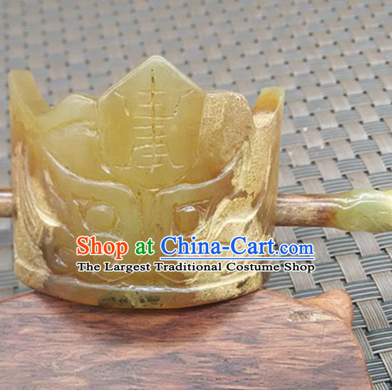 Chinese Ancient Jade Hairdo Crown Hanfu Hair Accessories Carving Monster Jade Hairpin Headwear