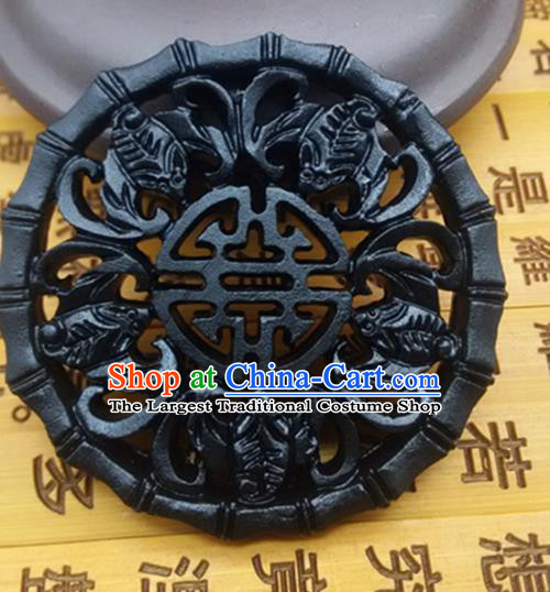 Chinese Handmade Carving Bats Jade Label Belt Accessories Handgrip Craft Handmade Black Jade Waist Pendant