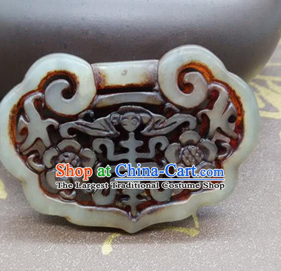 Chinese Handmade Carving Longevity Lock Jade Label Belt Accessories Handgrip Craft Handmade Jade Waist Pendant
