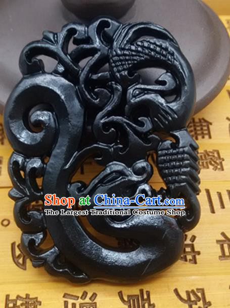 Chinese Handmade Carving Dragon Phoenix Jade Label Belt Accessories Handgrip Craft Handmade Black Jade Waist Pendant