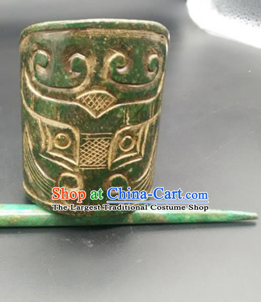Chinese Ancient Men Jade Hairdo Crown Hanfu Hair Accessories Hairpin Carving Monster Jade Headwear