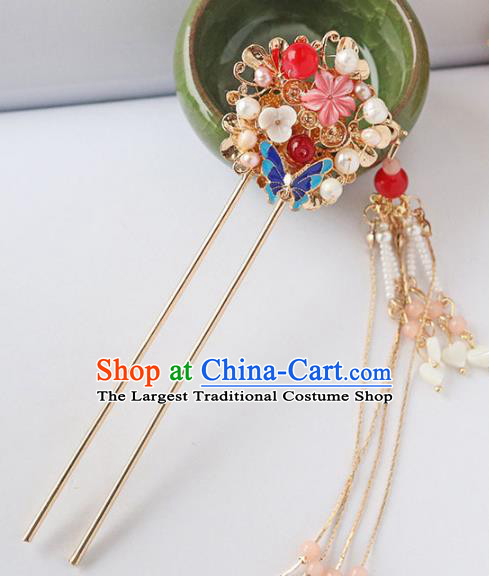 Chinese Ancient Blueing Tassel Hair Clip Hanfu Hair Accessories Ming Dynasty Women Headwear Pearls Hairpin