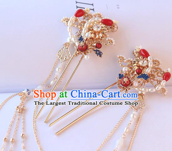Chinese Ancient Hanfu Hairpin Hanfu Hair Accessories Women Headwear Pearls Phoenix Tassel Hair Clip