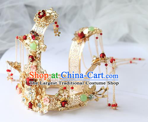Chinese Ancient Bride Hanfu Hair Accessories Women Hairpin Headwear Hair Crown Golden Phoenix Coronet