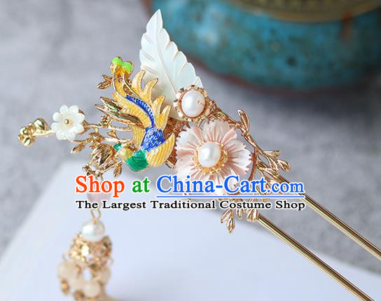 Chinese Ancient Hanfu Hair Accessories Women Golden Tassel Hairpin Headwear Golden Phoenix Hair Clip