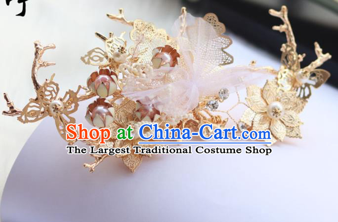 Chinese Ancient Hanfu Golden Hair Crown Hair Accessories Women Headwear Silk Flower Hairpin