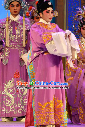 Chinese Cantonese Opera Niche Garment Princess Chang Ping Young Male Apparels Purple Costumes and Headwear