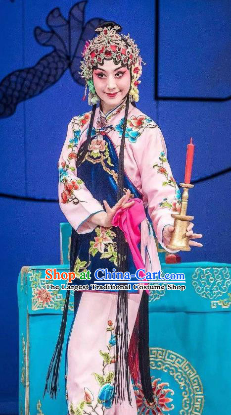 Chinese Traditional Peking Opera Xiaodan Apparel Garment the Wandering Dragon Toys with the Phoenix Young Lady Li Fengjie Costumes and Headwear