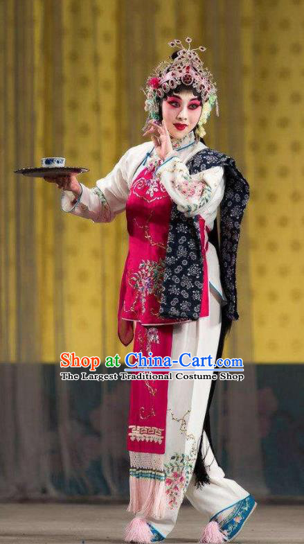 Chinese Traditional Peking Opera Servant Girl Costumes Apparel the Wandering Dragon Toys with the Phoenix Li Fengjie Maidservant Garment and Headwear