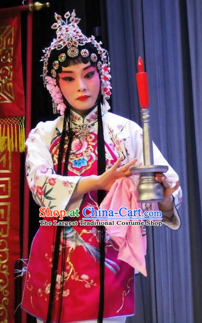 Chinese Traditional Peking Opera Servant Girl Apparel the Wandering Dragon Toys with the Phoenix Li Fengjie Young Lady Costumes Garment and Headwear