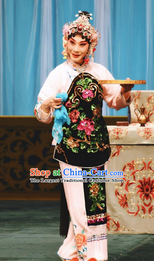 Chinese Traditional Peking Opera Costumes Apparel the Wandering Dragon Toys with the Phoenix Li Fengjie Embroidered Peony Garment and Headwear