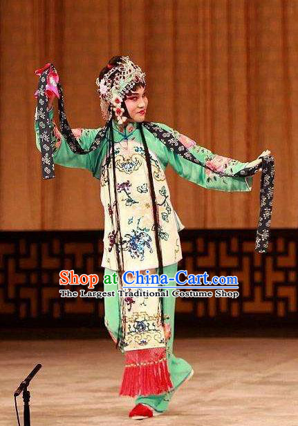 Chinese Traditional Peking Opera the Wandering Dragon Toys with the Phoenix Costumes Apparel Li Fengjie Green Garment and Headwear