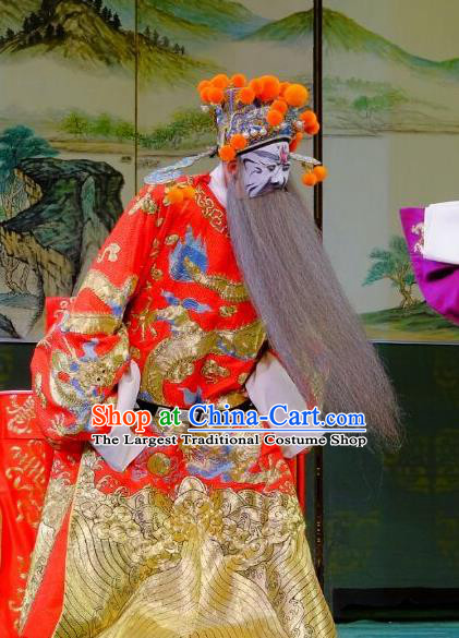 Chinese Peking Opera Dong Zhuo Official Costumes Garment Lv Bu and Diao Chan Elderly Male Apparels Red Python Embroidered Robe and Headwear