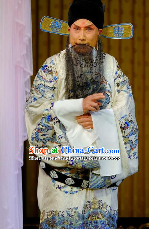 Chinese Peking Opera Official Dong Zhuo Costumes Garment Lv Bu and Diao Chan Elderly Male Apparels White Python Embroidered Robe and Hat