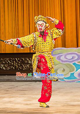 Chinese Peking Opera Wusheng Costumes Garment Havoc In Heaven Monkey King Sun Wukong Apparels and Headwear