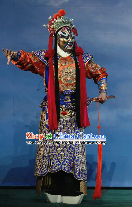 Chinese Peking Opera God Soldier Havoc In Heaven Costumes Apparels Wusheng General Garment and Headwear