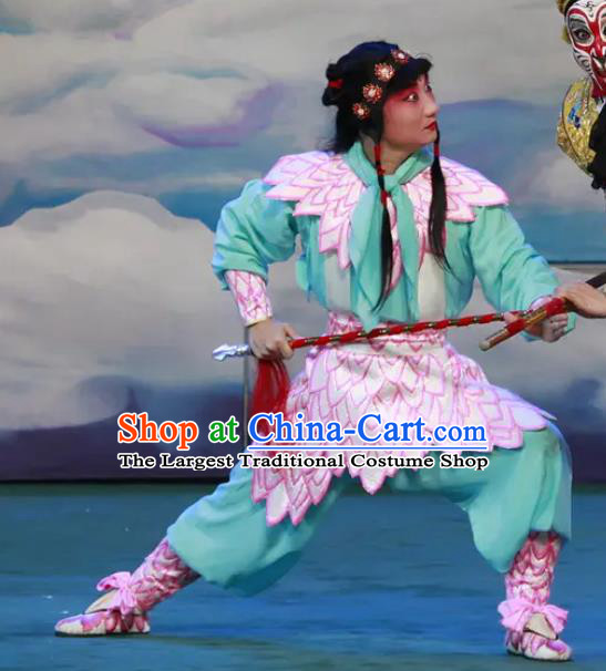 Chinese Peking Opera Havoc In Heaven Martial Role Costumes God Nezha Garment Apparels and Headpieces