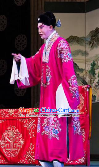 Chinese Peking Opera Xiao Sheng Apparels Costumes Four Scholars Number One Scholar Red Garment and Hat