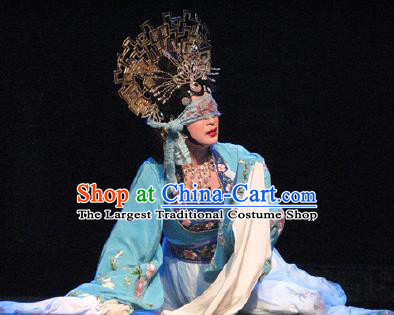 Chinese Beijing Opera Noble Consort Su Daji Costumes Apparels Garment The Legend and Hero Peking Opera Hua Tan Blue Dress and Headpieces