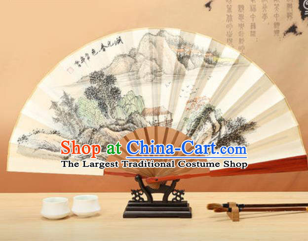 Chinese Traditional Ink Painting Lake Landscape Paper Folding Fans Handmade Accordion Classical Dance Folding Fan