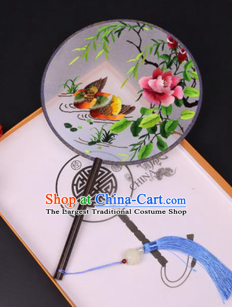 Chinese Traditional Embroidered Mandarin Duck Palace Fans Handmade Classical Dance Ebony Round Fan for Women