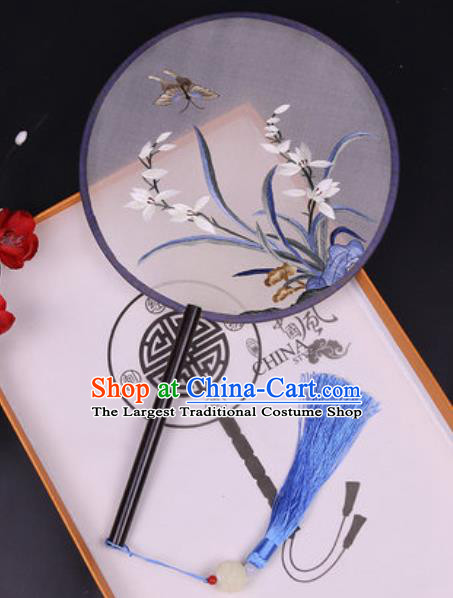Chinese Traditional Embroidered Orchid Butterfly Palace Fans Handmade Classical Dance Ebony Round Fan for Women