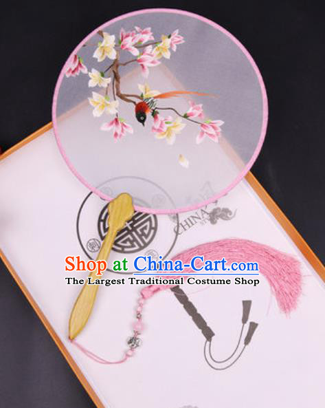 Chinese Traditional Embroidered Pink Mangnolia Palace Fans Handmade Classical Dance Ebony Round Fan for Women