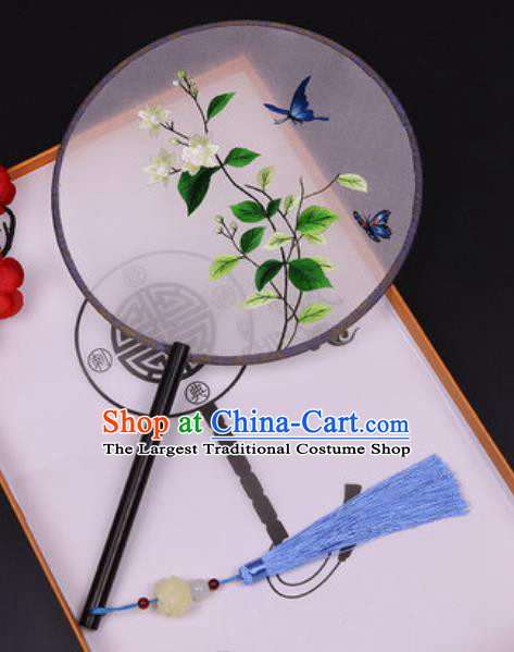 Chinese Traditional Embroidered Gardenia Palace Fans Handmade Classical Dance Ebony Round Fan for Women