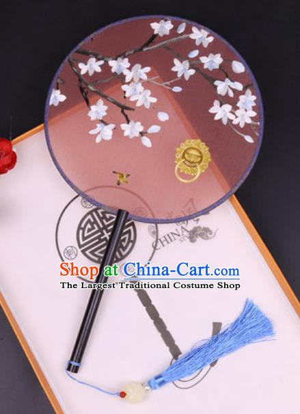 Chinese Traditional Embroidered Palace Fans Handmade Classical Dance Ebony Round Fan for Women