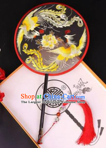 Chinese Traditional Embroidered Phoenix Peony Palace Fans Handmade Classical Dance Ebony Round Fan for Women