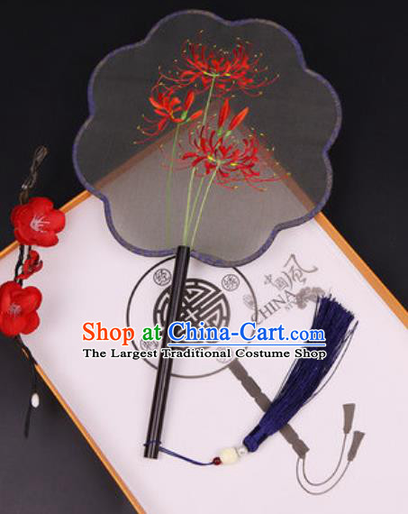 Chinese Traditional Embroidered Red Spider Lily Silk Fans Handmade Classical Dance Ebony Palace Fan for Women