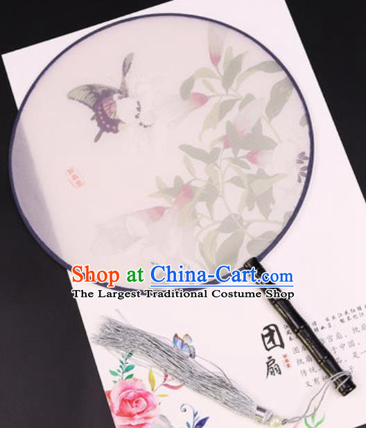 Chinese Traditional Printing Lily Flowers Butterfly Round Fans Handmade Classical Dance Ebony Palace Fan for Women