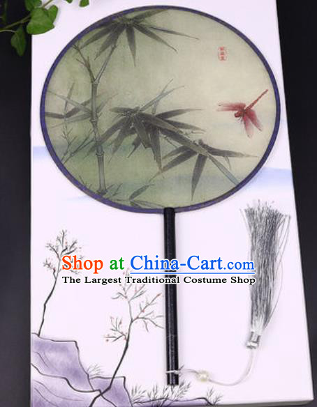 Chinese Traditional Printing Bamboo Dragonfly Round Fans Handmade Classical Dance Ebony Palace Fan for Women