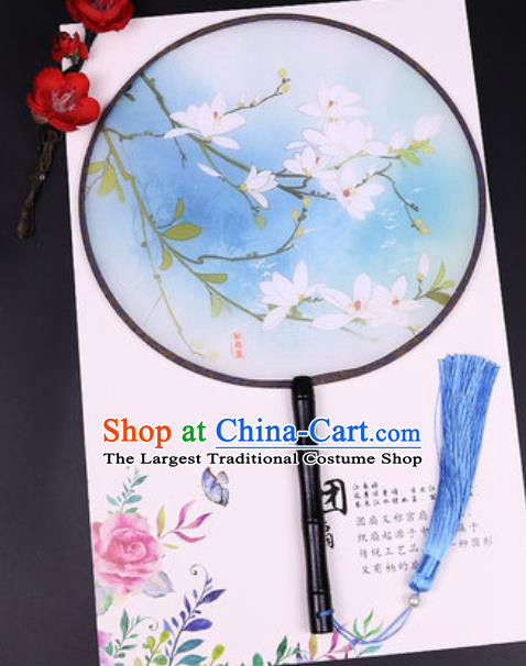 Chinese Traditional Printing Mangnolia Round Fans Handmade Classical Dance Ebony Palace Fan for Women