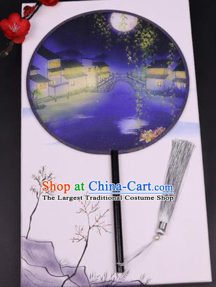 Chinese Traditional Printing Waterside Round Fans Handmade Classical Dance Ebony Palace Fan for Women