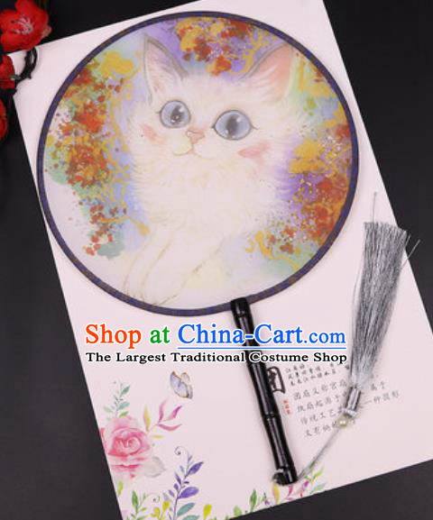 Chinese Traditional Printing Cat Round Fans Handmade Classical Dance Ebony Palace Fan for Women